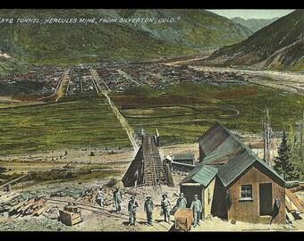 Hercules Mine Tunnel Postcard From Silverton Colorado Miners CO PC