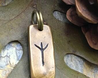 Algiz Rune, Nordic Runes, Bronze Rune Pendant, Viking Runes, Rune Charms, Rune Jewelry, Nordic Jewelry, Elder Futhark, Viking Jewelry