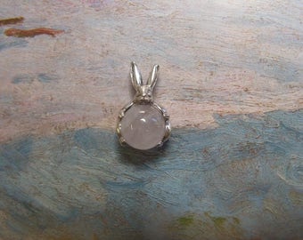 Sterling Silver Bunny Pendant With Rose Quartz
