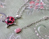 Pink Butterfly Cabochon Pentacle Pentagram Necklace with Rhodochrosite