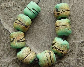 Lampwork, handmade  - Green Barrels - by Calisto
