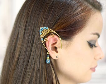 Gold Filigree Elven Ear Cuffs, Choose Your Crystal Color, Ear Cuffs, Ear Wraps, Antiqued Brass, Fantasy, Elven Jewelry, Cosplay, Costume