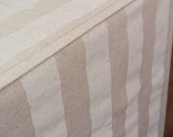 Designer Dog Crate Cover, Canopy Stripe Cloud/Linen Cover, YOU Choose Fabric, Pet Crate Cover, Personalization & Grommets Extra
