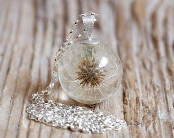 Bridal Necklace, Dandelion Resin Necklace, Silver Chain, Botanical Jewelry, Floral Jewelry, Silver Necklace