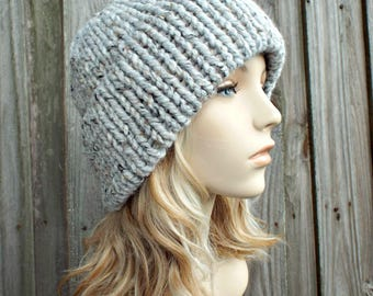 Double Thick Brim Knit Hat - Womens Hat Mens Hat - Grey Tweed Beanie - Warm Hat Thick Winter Beanie - Grey Hat Grey Beanie - READY TO SHIP