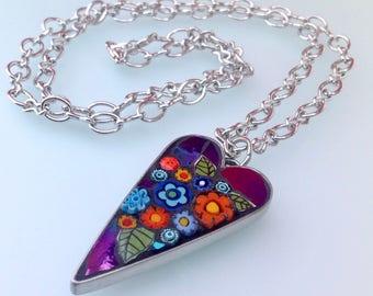 Mosaic Heart Pendant Necklace - Carnival