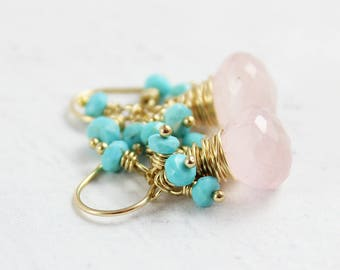Rose Quartz and Turquoise Earrings, Light Pink Earrings, Sky Blue Gemstone Earrings, Turquoise Stone Earrings, Gold Turquoise Earrings