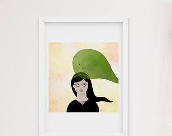 Avocado green friend - art print