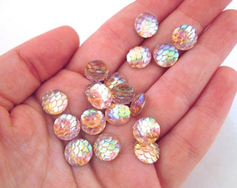 Ten 10mm Light Pink Fish Scale Cabochons, Mermaid Cabochons, H427