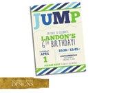 Jump Party Invitation – Bounce House Birthday Invite - Trampoline Birthday Party - Gymnastics Invitation - Boy Birthday Party Invitation