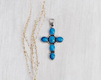 "Vintage Mexican Cross Pendant -  2.5"" sterling silver turquoise blue cab cabochons - 925 MWS Mexico"