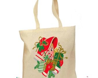 "Christmas Tote Bag - Christmas Gift Bag - ""Shopping Lady"" = 1940s Retro Gift Canvas Vintage Personalized Canvas Bag - Mid Century Christmas"