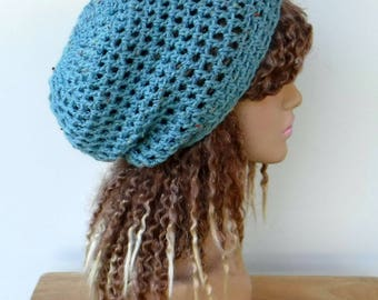 sea blue slouchy hat, woman hippie small dreadlocks beanie tam hat hairnet snood slouchy crochet hat, slouch beanie/teal tweed hat