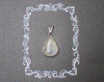 Rainbow moonstone necklace. Big rainbow moonstone. Sterling silver.