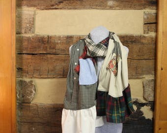 Flannel Scarf Rustic Plaid Chic Scrappy Scarves Mori Girl Tattered Upcycled Boho Hippie Patchwork Scarf Anthropologie Style Neck Wrap