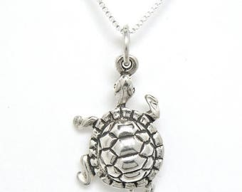 SALE Turtle Tortoise Sterling Silver Animal Pendant Charm Customize no. 1890
