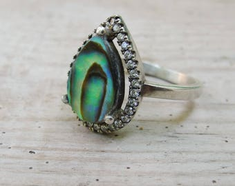 Cubic Zircon Drop Ring, Sterling Silver Abalone Ring, Mermaid ring, Seashell Ring US size 7.5 Peacock Colors