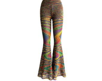Size S Crochet Pants - Bell Bottoms in Double Rainbow - Free US Shipping
