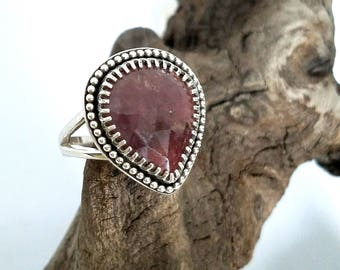 Pink Rosecute Sapphire Sterling Silver Ring Size 7.5