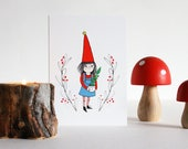 Christmas cards 4 pack. Gardening elf with plant, card set. Cute card for plant lover. Santa's little helper, xmas card, Scandinavian gnome