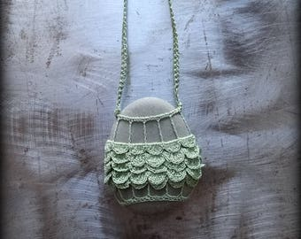 Sale, Artist Necklace, Crocheted Lace, River Stone, Gift Original, Green, Gray, Ruffled Layered, Handmade, Nature, Unique, Bohemian, Monicaj