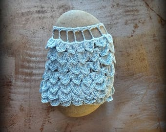Crocheted Lace Stone, Light Blue, Handmade, Original, One of a Kind,Ruffles Smooth, Beautiful Gift, Home Decor, Unique, Collectible, Monicaj