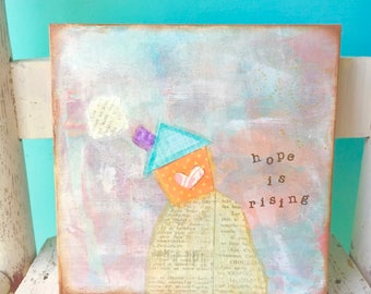 Whimsical house painting • Mixed Media Art • Ethereal Art • Original art • Hope • Small gift idea • 6x6 inch wood