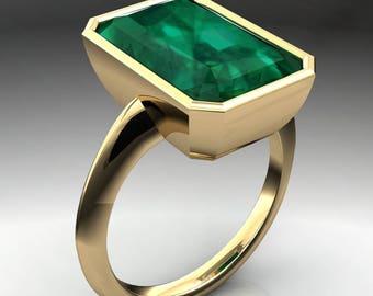 maddox ring – 8.8 carat emerald green NEO moissanite ring, bezel set ring