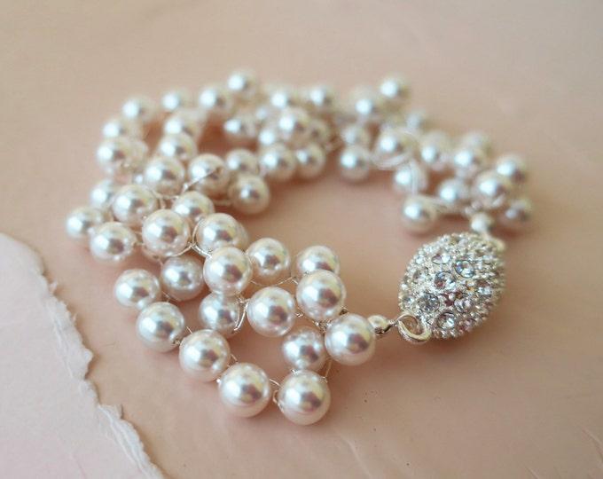 White Pearl and Rhinestone Wedding Bracelet Vintage Style