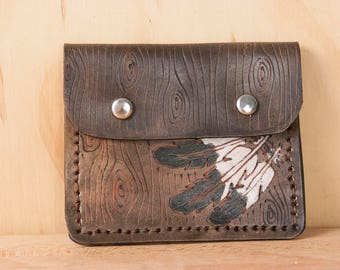 Womens Slim Wallet - Leather Credit Card Wallet in the Emily pattern with Feathers and woodgrain - white, black and antique black