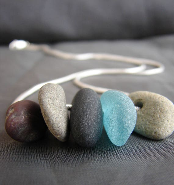 Beach Walk beach pebble and teal sea glass necklace