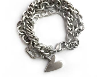 Sterling Silver Triple Chain Heart Charm Bracelet Recycled Vintage Tiffany Cable Curb Chain