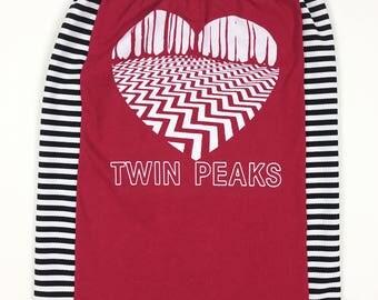 L Twin Peaks Shirt. Burgundy Twin Peaks Tube Top.Twin Peaks Heart Shirt Handmade. Large Tube Top. David Lynch Shirt. David Lynch Tube Top