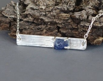 Raw Sapphire Bar Necklace, Silver Bar Necklace, Blue Sapphire Pendant, Textured bar, Sapphire Nugget,
