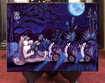 Howling coyote art print, howling wolf art print, whimsical Coyote art print, whimsical wolf art print, howling  wolf art, howling