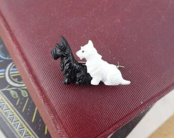 Adorable Vintage Scottie Dogs Brooch, Black & White Scottish Terriers Pin, Plastic Brooch, Made in England