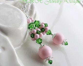 Pink Pearl Earrings, Green Crystal Earrings, Pink Green Cluster Earrings, Long Pearl Earrings, Large Pink Pearl Earrings, Swarovski Earrings
