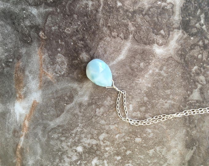Sterling Silver and Larimar Littles Necklace Gift Unique Delicate Minimalist Healing Chakra Energy Gemstones Inspirational Gift