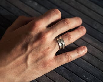Wide Infinity Spinner Band - Sterling Silver Unisex Kinetic Ring