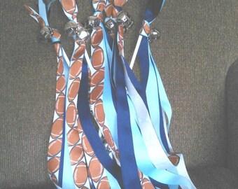 Cheer Wand/Cheer Ribbon/Spirit Wand/Jingle Bells/Team Sports/Navy Blue and White with Football Ribbon