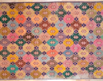 5.5' x 9.5' Carpet Bright Multicolor Overdyed Rug Vintage