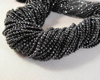 Black Spinel Rounds, 13 Inch Strand, Faceted Gemstone Beads, 2.2mm - 2.5mm, Black Diamond Substitute, Jewelry Supplies (R-Sp2)