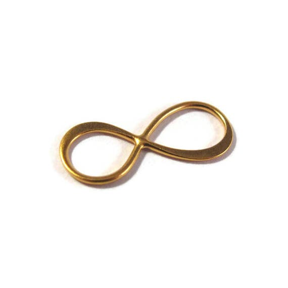 Infinity Link Charm, Infinity Sign, Brushed Gold Connector Charm for Making Jewelry, Gold Plate over Sterilng (L-Mix23a)