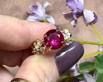 Ruby, Lab Grown Fuchsia Red Ruby, Hand Crafted Ring, Wire Wrapped Ring in 14k GF or Sterling Silver, Unique Ruby Engagement, July Birthstone