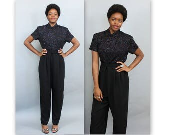 1980's Black Sparkle Disco Jumpsuit in size Medium or Large . High Collar Belted Pantsuit Power Suit Romper . Winter Party Business Casual