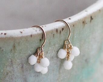"""dainty white earrings, simple white earrings, opaque white earrings, beaded earrings, bridal jewelry, pretty drop earrings, """"lucky"""" earrings"""