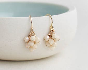 tiny beaded earrings, dangly earrings, bridesmaid gift, 14k gold filled jewelry, beaded dangle earrings, romantic earrings, gift for her