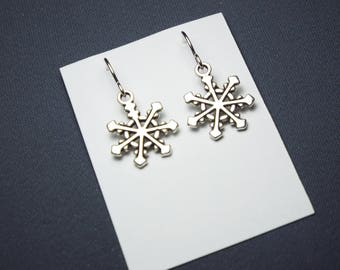 Snowflake Earrings Sterling silver ear wires silver charms