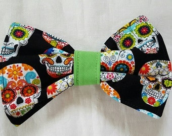 Dog Bow Tie, Sugar Skulls, Day of the Dead,  Bow Tie For Dogs, Cat Bow Tie, Pet Neckwear, Pet Supplies Accessories, Pet Clothing, Dog
