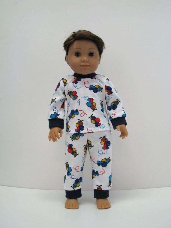"""18 Inch Boy Doll Clothes - Boy Doll Pajamas - Clothes for AG Boy Doll - PJ's - Airplane - 18 Inch Boy Doll Pajamas - 18"""" Boy Doll"""